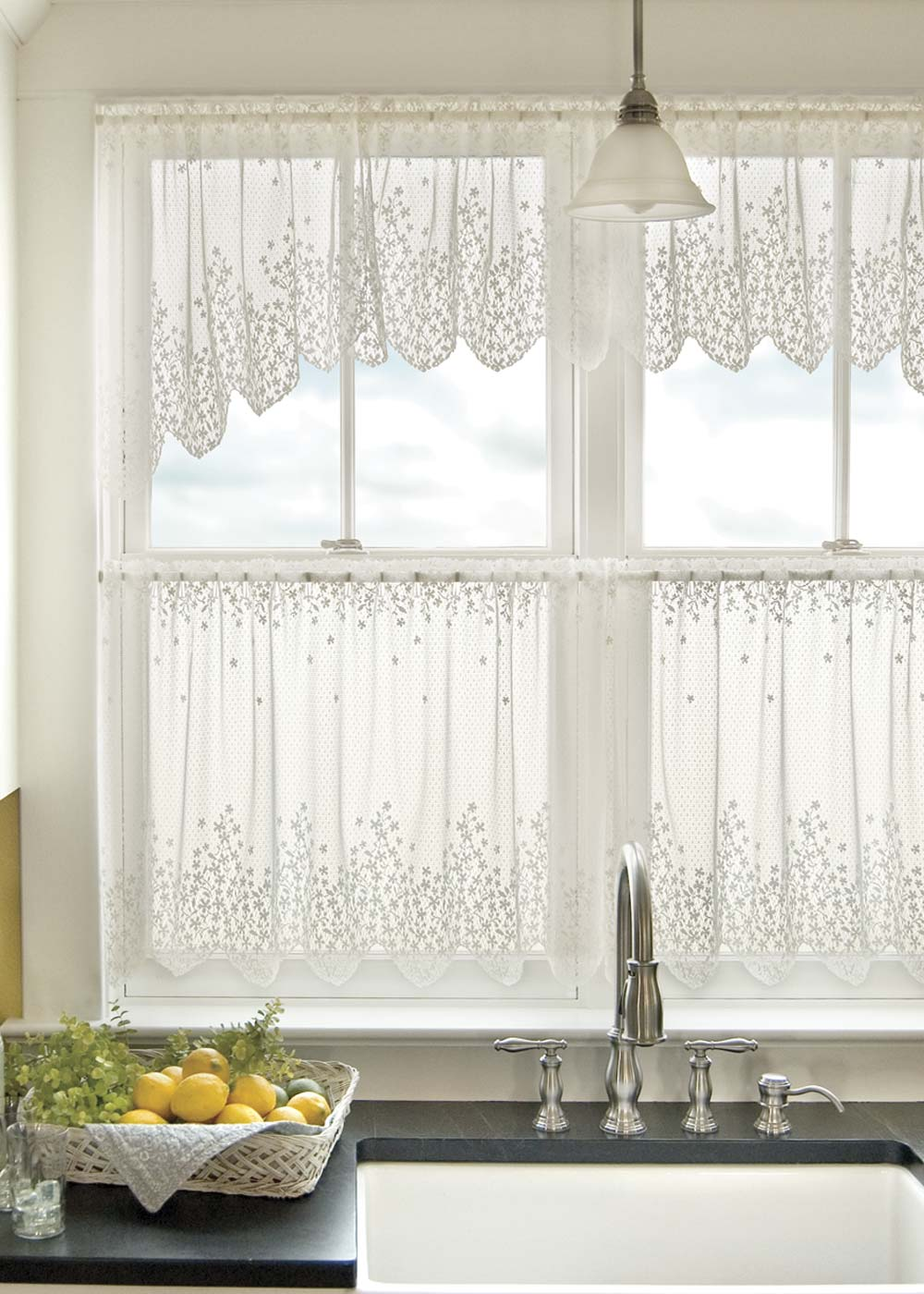 Swag Valances For Windows : Blossom swag pair heritage lace