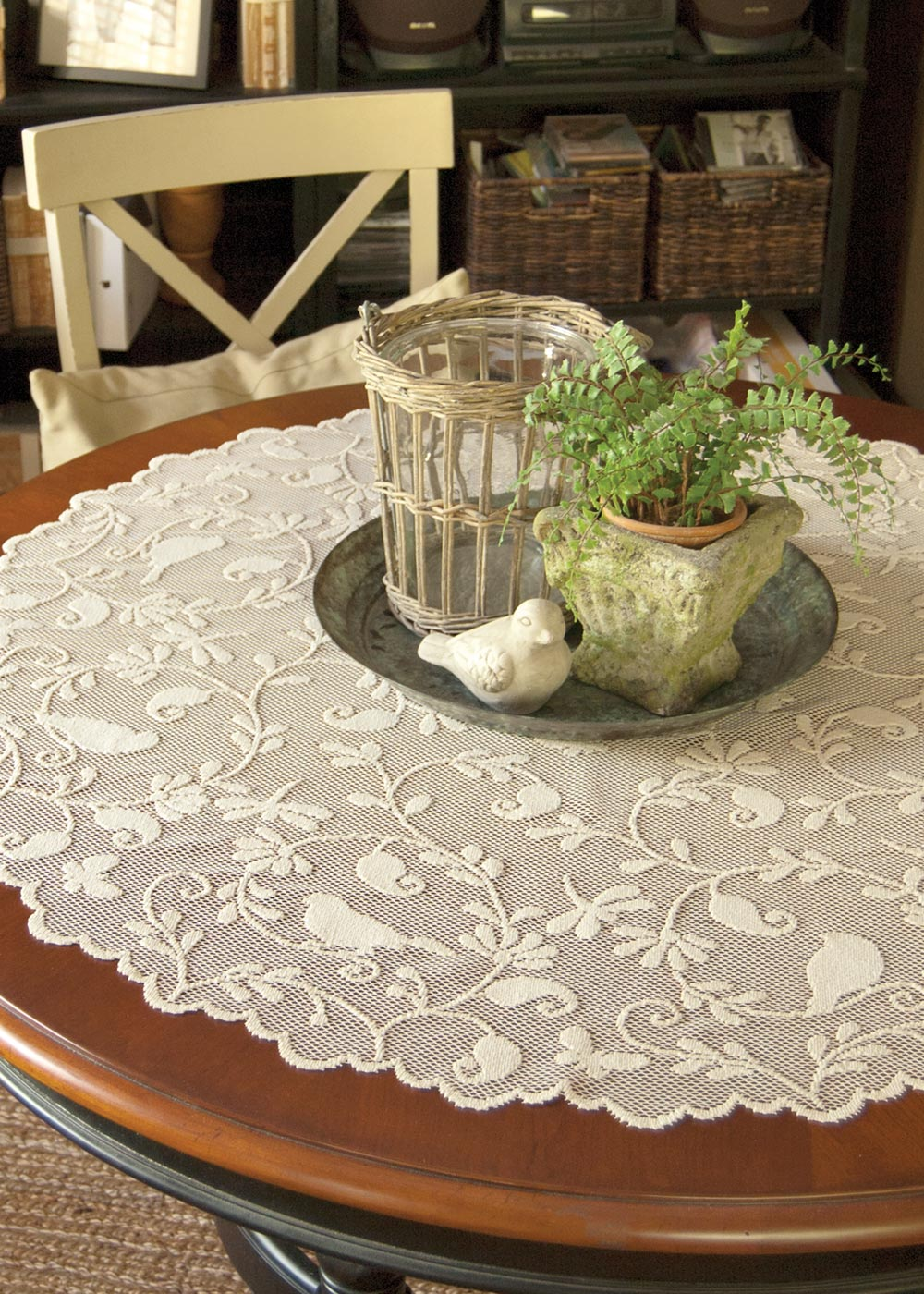 Lace Table Topper Bird Song From Bristol Garden Collection