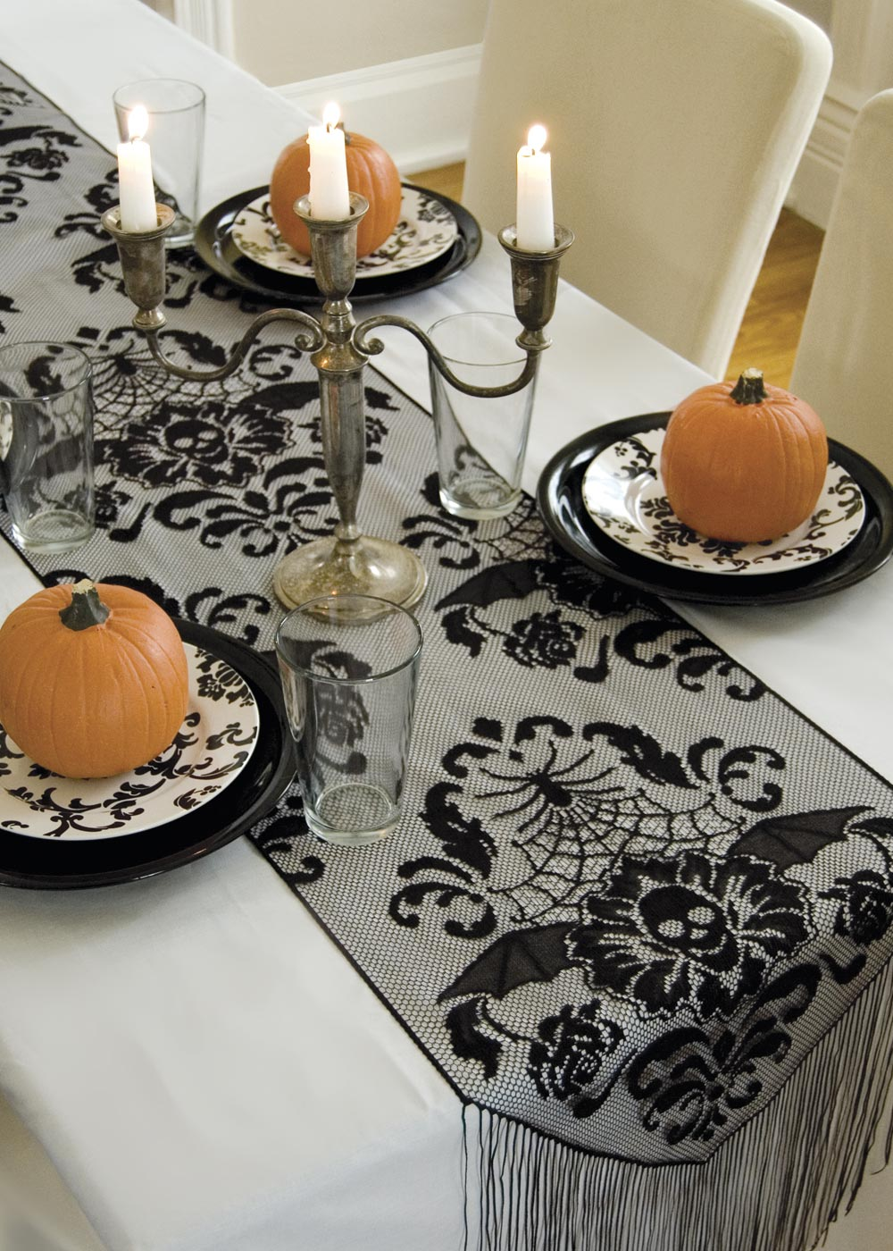 Halloween Damask Runner Heritage Lace