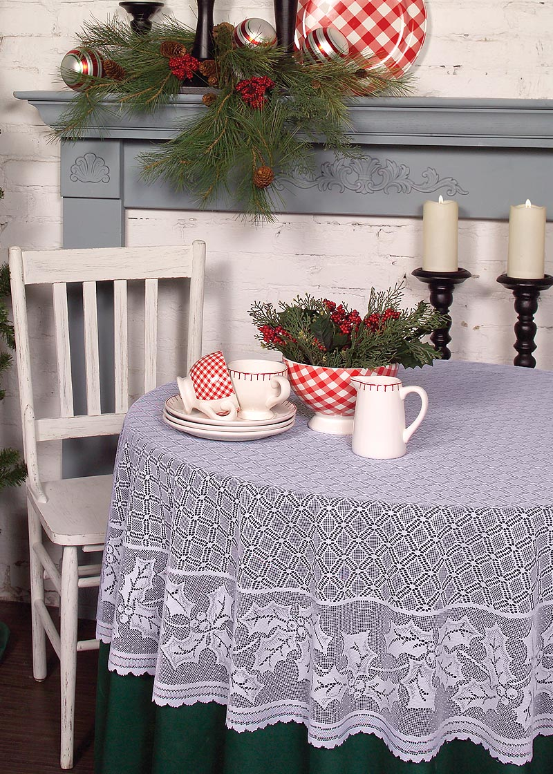 Holly Vine Round Tablecloth Heritage Lace