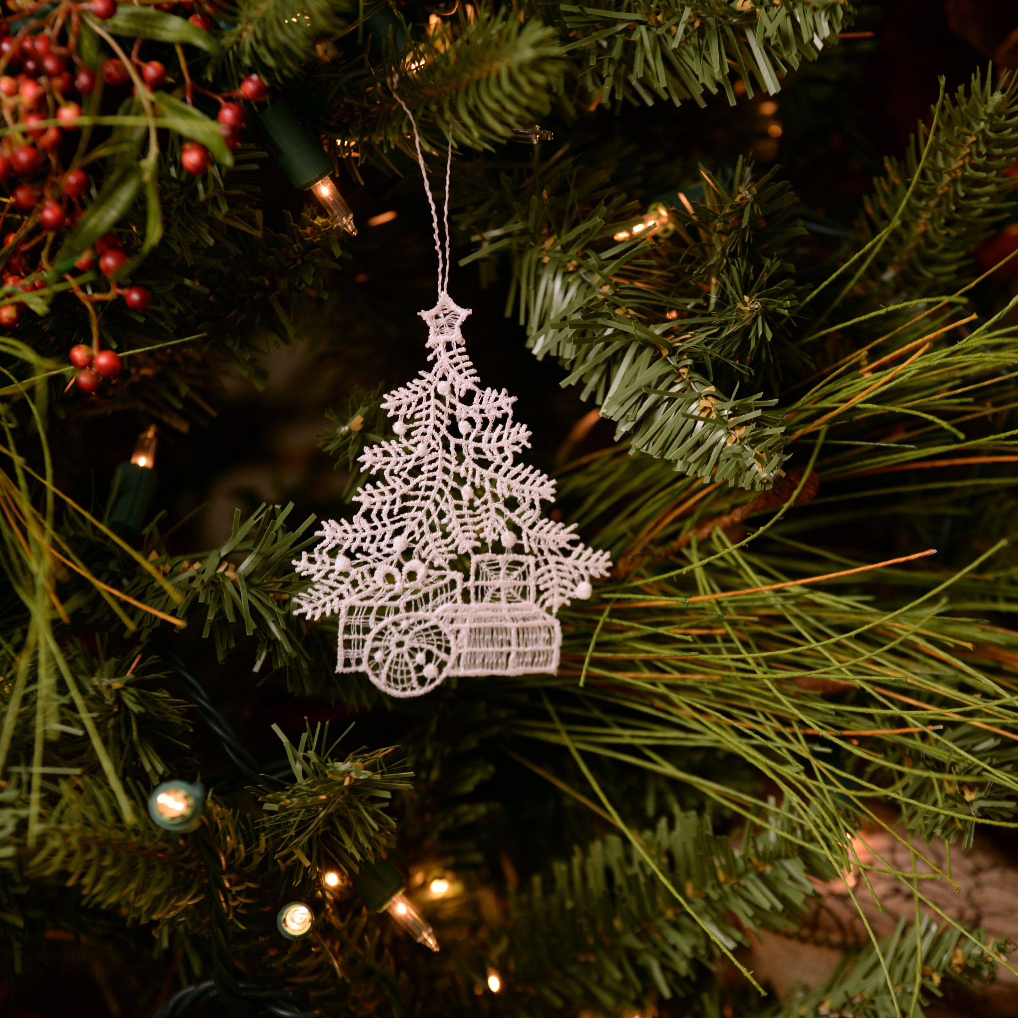Christmas Tree Ornament Sets.Christmas Lace Ornament Tree White From Macrame Ornaments