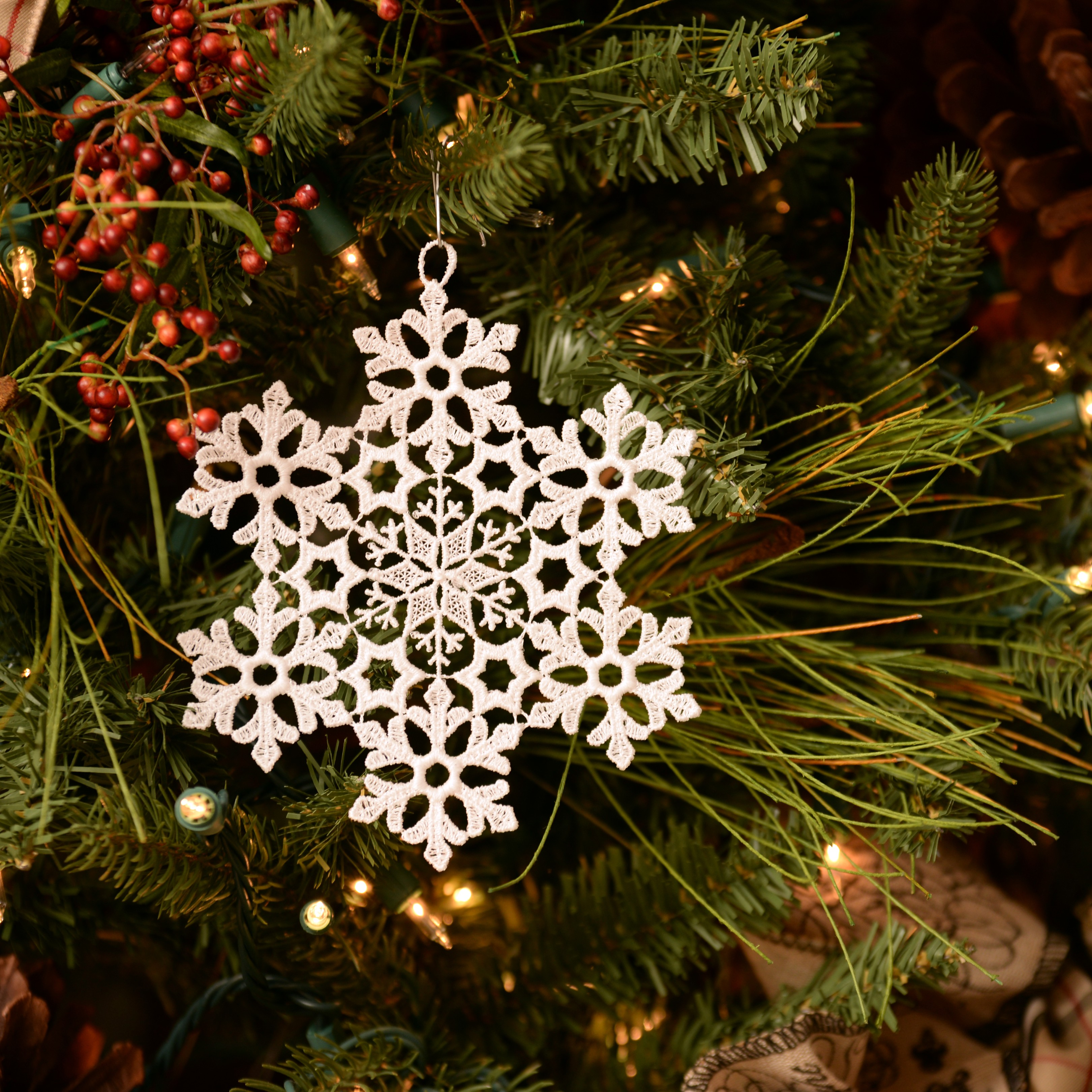 Christmas Ornament Sets.Christmas Lace Ornament White Christmas White From Macrame