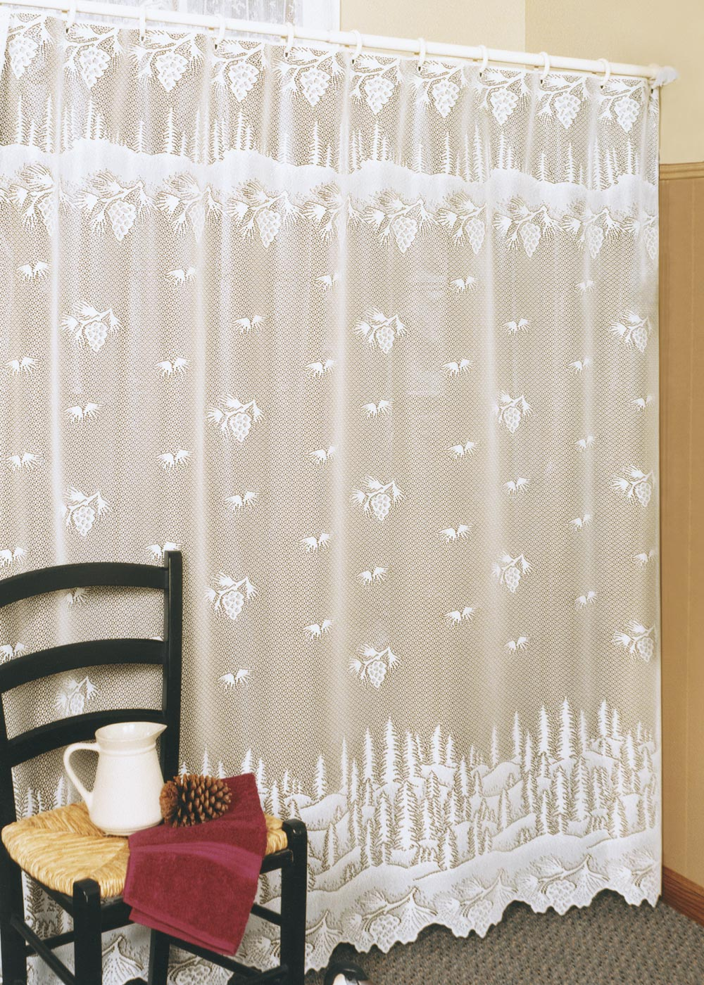 Pinecone Shower Curtain Heritage Lace