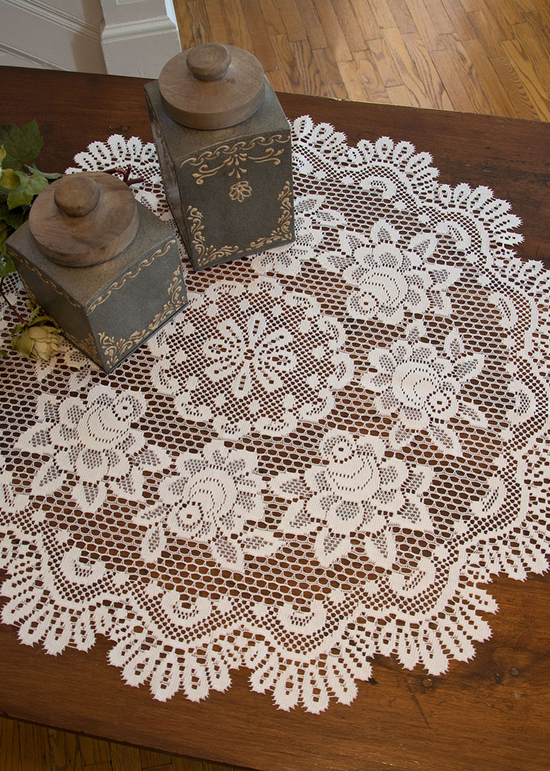 Rose Round Table Topper Heritage Lace