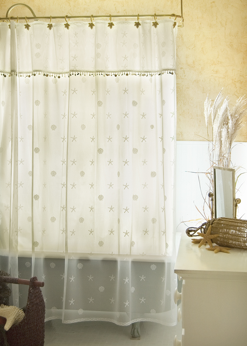 Coastal Seaside Lace Trimmed Shower Curtain From Sand Shell Collection Made In Usa