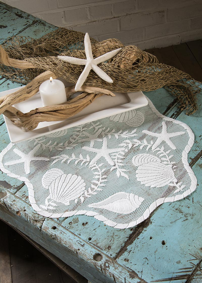 Lace Doily Charger Set Coastal Table Linens From Tidepool