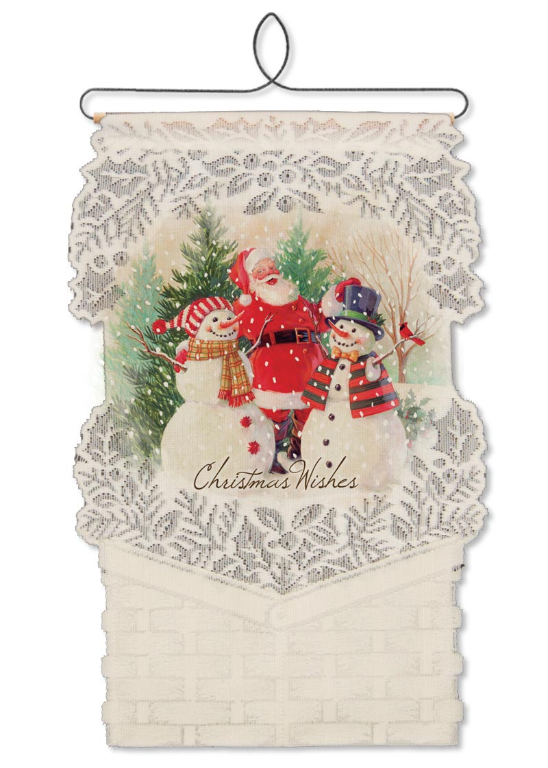 santa snowmen card holder wall hanging heritage lace - Christmas Card Holder Wall Hanging