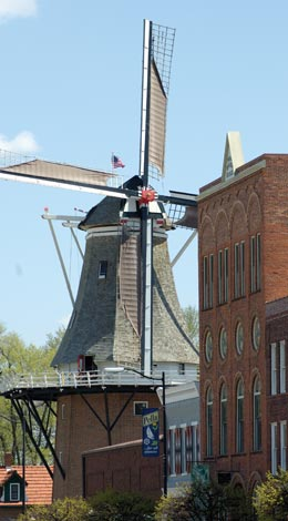The tallest working windmill in America anchors downtown Pella